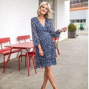 Ann Taylor Petite Wrap Crossover Floral Blue 12P
